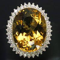 Кольцо серебро 925 пробы золотой кварц  24,15 карат, фото 1
