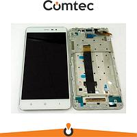 Дисплей для Xiaomi Redmi Note 3 с тачскрином (Модуль) белый, с передней панелью (рамкой)