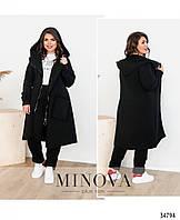 Спортивный костюм женский теплый стильный больших батальных размеров 50-64,цвет черный