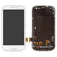 Дисплей Samsung I9300 Galaxy S3, белый, с сенсорным экраном, с рамкой, с регулировкой яркости, (TFT), Сopy