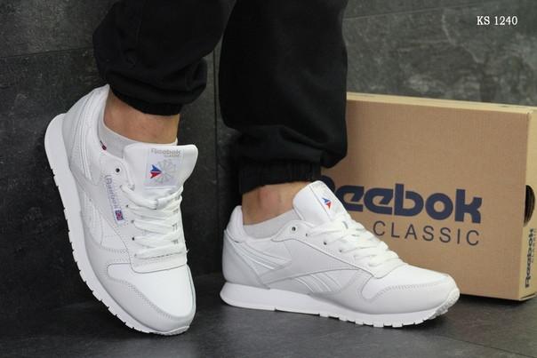 Мужские кроссовки Reebok Classic (белые) ЗИМА