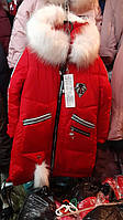 Теплая куртка девочке на зиму с лампасами на рукавах