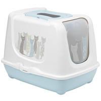Moderna Trendy Cat Maasai МОДЕРНА ТРЕНДИ КЕТ закрытый туалет для котов c угольным фильтром и совком, голубой, дизайн Масаи 57,4x44,8x42,7 см
