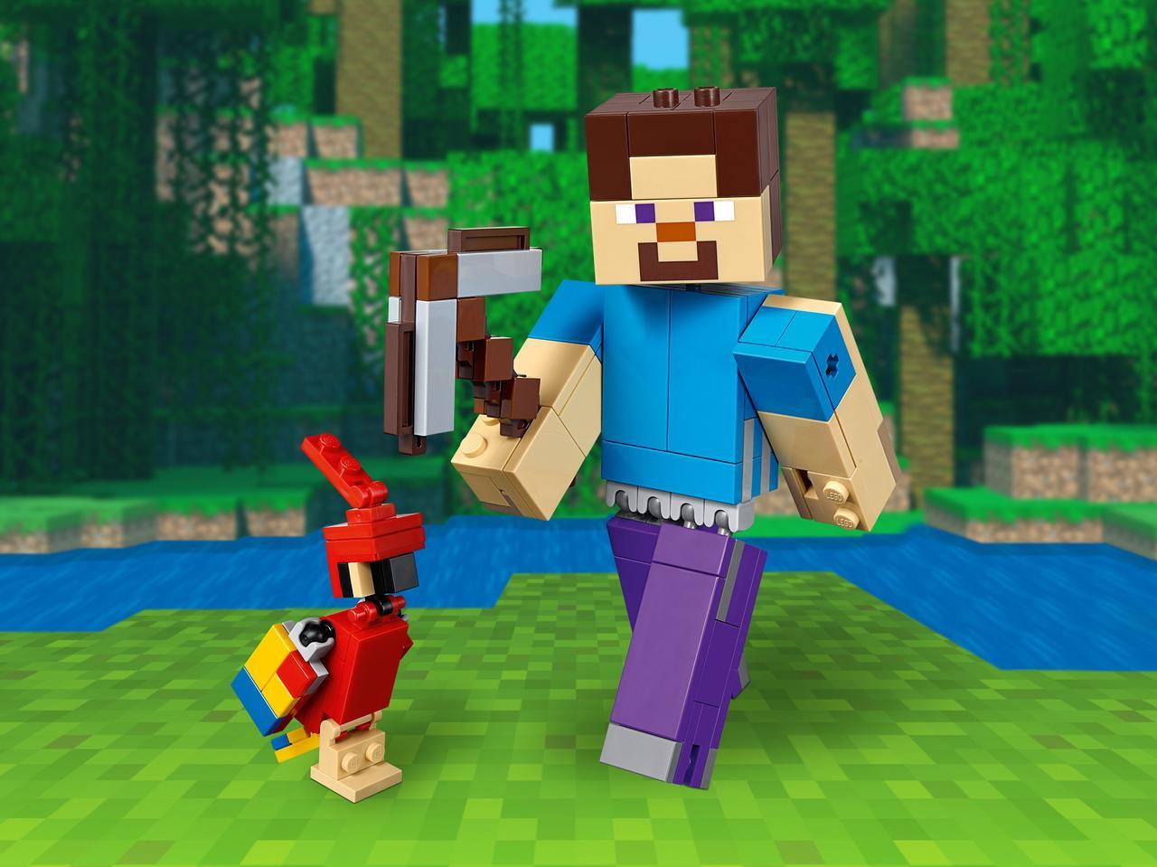 Конструктор LEGO Minecraft. Большие фигурки Minecraft, Стив с попугаем