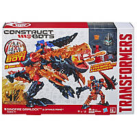 Transformers Age of Extinction Construct-Bots Dinofire Grimlock and Optimus Prime