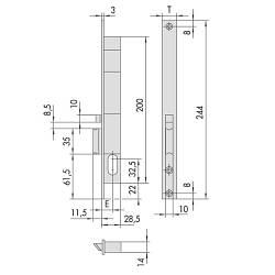 Cisa 1.14020.15 врезной электромеханический замок узкий