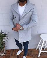 Мужское пальто демисезонное до -10С пиджак шерстяной серый длинный, фото 1