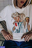 Теплая кофта Батник свитшот толстовка худи на флиссе Капюшон, фото 3