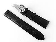 Ремешок к часам Patek philippe черный, кожаный, с фирменной серебристой застежкой
