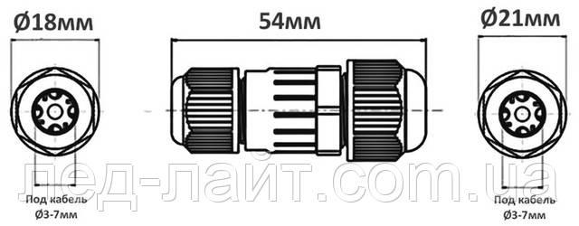 Герметичный коннектор для кабеля IP68
