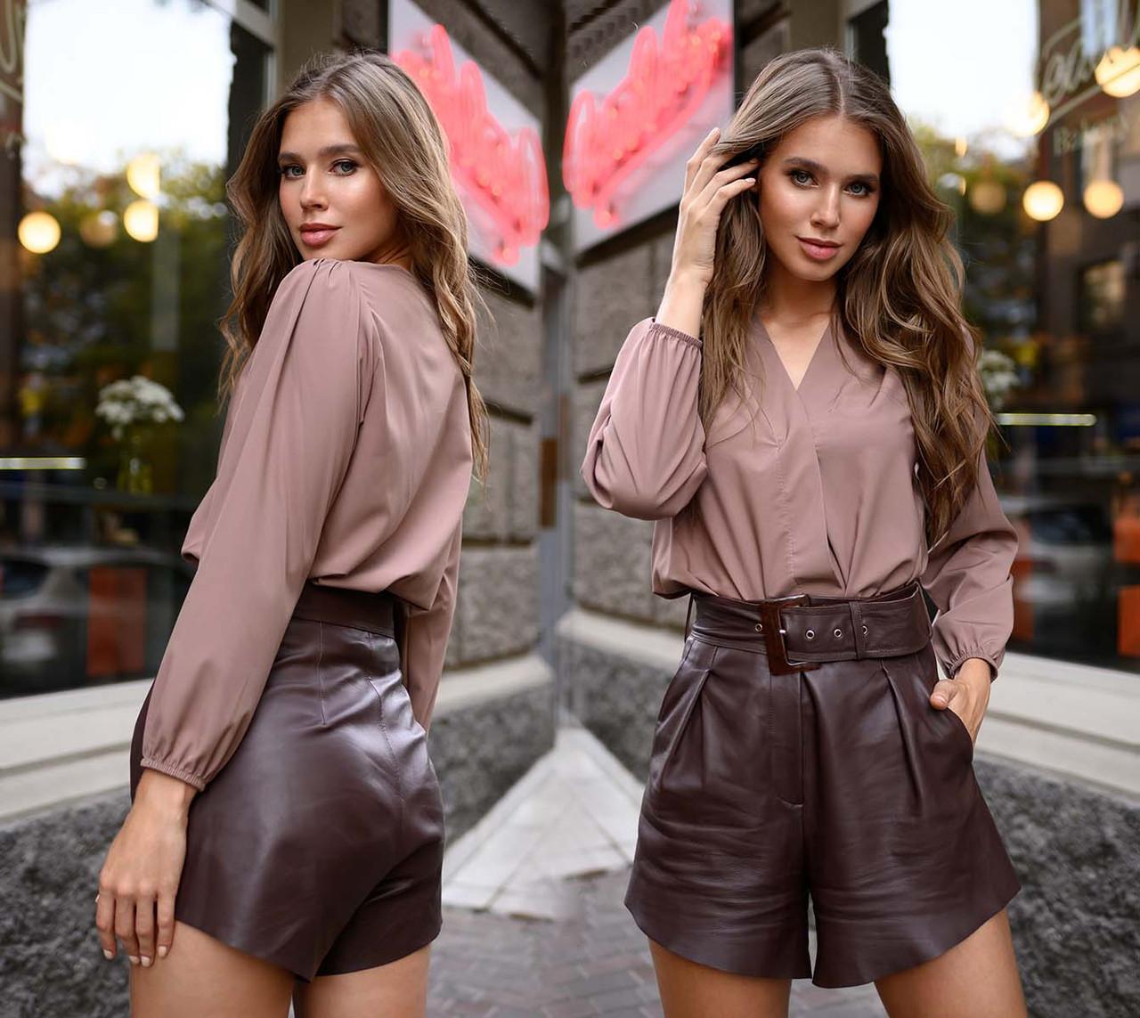 """Елегантна жіноча блуза до великих розмірів 41323 """"Софт Запах"""" в кольорах"""