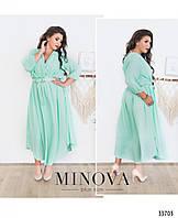 Платье женское легкое длинное шифон 50-58 размеров,цвет ментол