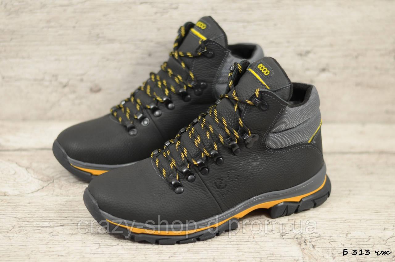 Мужские кожаные зимние ботинки Ecco  (Реплика) (Код: Б 313 чж  ) ►Размеры [40,41,42,43,44,45]