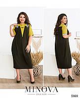 Платье женское летнее легкое свободного кроя 52-58 размеров,цвет фисташковый