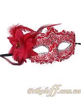 """Маскарадная маска """"Красный гипюр"""""""