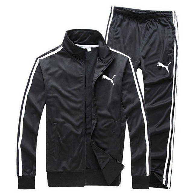 Демисезонный костюм для тренировок Puma с лампасами черный (Пума)