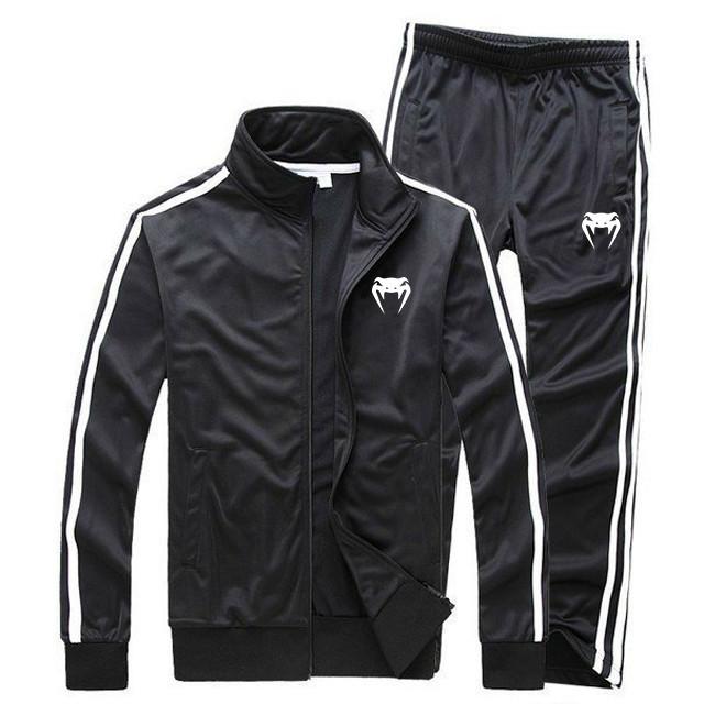 Тренировочный костюм Venum черного цвета с лампасами (Венум)