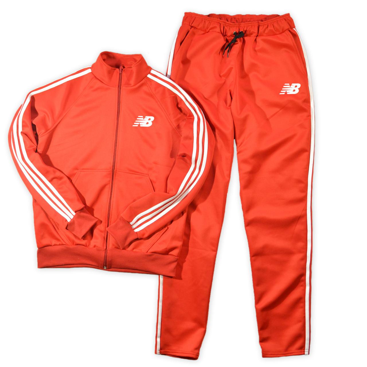 Красный мужской спортивный костюм New Balance с лампасами (Нью Беленс)