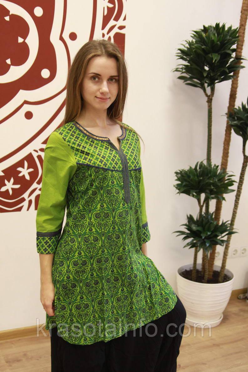 Туника Хинди зелёная с принтом