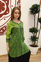 Туника Хинди зелёная с принтом, фото 1
