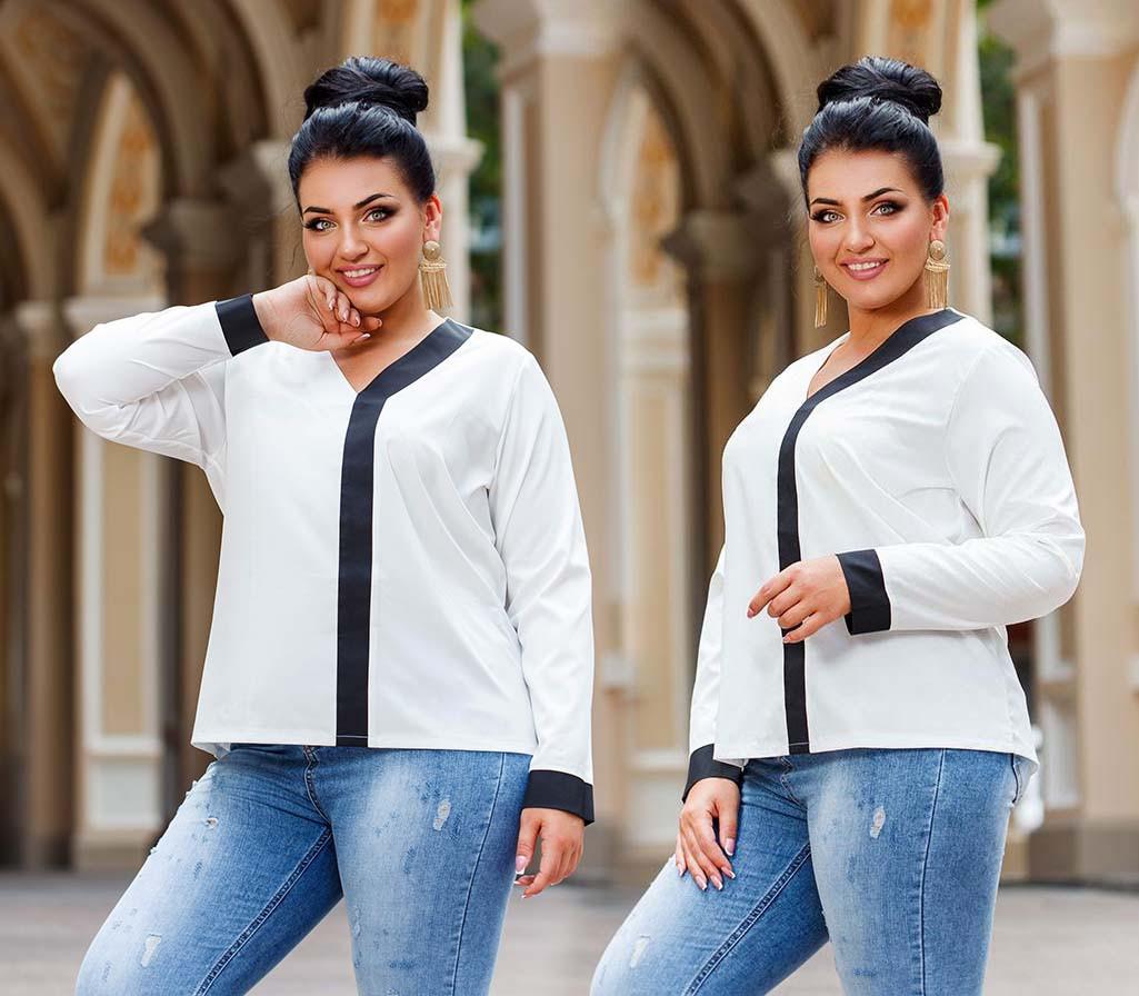 """Жіноча стильна блуза до великих розмірів 41324 """"Софт Кант Контраст"""" в кольорах"""