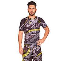 Комплект компрессионный мужской (футболка с коротким рукавом и шорты) VNM SNAKER CO-5772-CO-5771 (PL, р-р M-XL, черный-желтый)