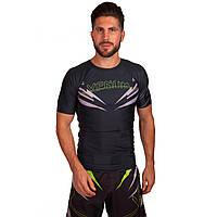 Комплект компрессионный мужской (футболка с коротким рукавом и шорты) VNM  SHARP CO-5804-CO-5805-G (PL,р-р M-XL(RUS 46-52), черный-салатовый)