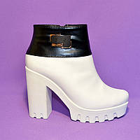 Ботинки кожаные женские демисезонные на белой тракторной подошве., фото 1
