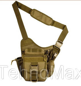 Тактическая мужская сумка через плечо, штурмовая военная армейская сумка рюкзак Oxford 600D песочная +Подарок