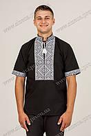 Вышиванка мужская Федор чёрная с белой вышивкой