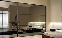 Шкаф купе зеркало графит в алюминиевых рамках