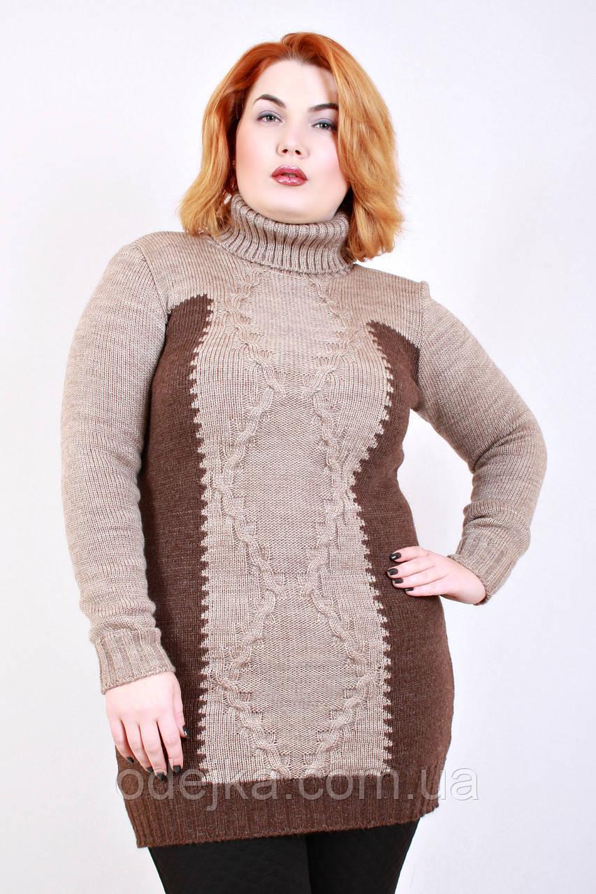 Свитер вязанный Интарсия (3 цвета), женский свитер для полных, туника вязаная, дропшиппинг украина