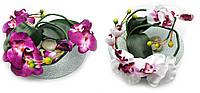 Цветок орхидеи на стеклянной подставке (xm004)(d-26 см)