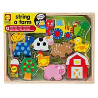 Alex Toys Деревянная шнуровка Ферма 1486F Little Hands String A Farm