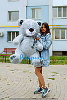 Большой плюшевый мишка, медведь Винни 130 см серый, фото 1