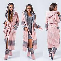 Набор домашний женский, халат махровый теплый + сапожки в комплекте, уютный, мягкий, удобный, до 54 р-ра