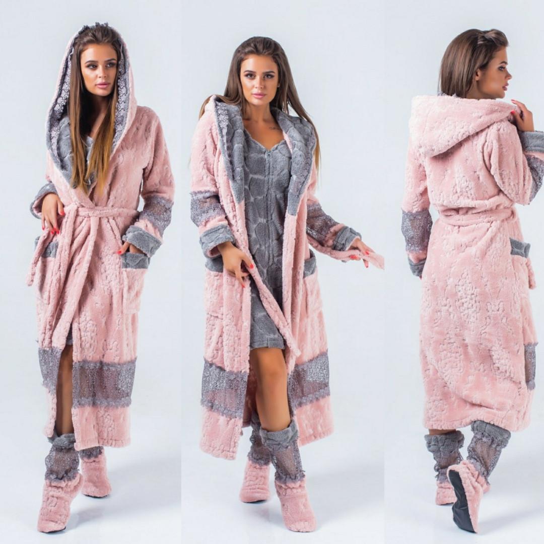 Набор домашний женский, халат махровый теплый + сапожки в комплекте, уютный, мягкий, удобный, до 54 р-ра, фото 1