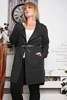 Кардиган большого размера Ангора рубчик графит, кардиган для полных женщин, одежда большого размера