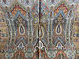 Царский 1159-51, павлопосадский шарф-палантин шерстяной с шелковой бахромой, фото 7