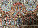 Царский 1159-51, павлопосадский шарф-палантин шерстяной с шелковой бахромой, фото 4
