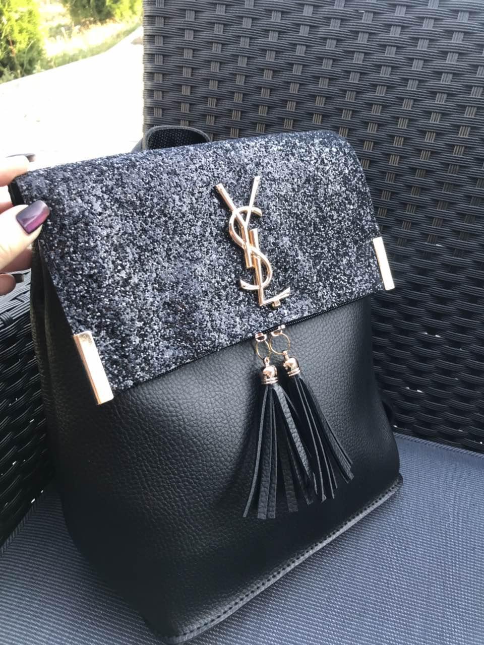 Рюкзак городской женский черный глитер