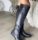 Стильные и привлекательные высокие ботфорты с широким манжетом 1052М-черный флотар, фото 2