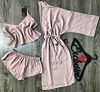 Хлопковый халат с пижамой, комплект домашней одежды 047-094 пудра.