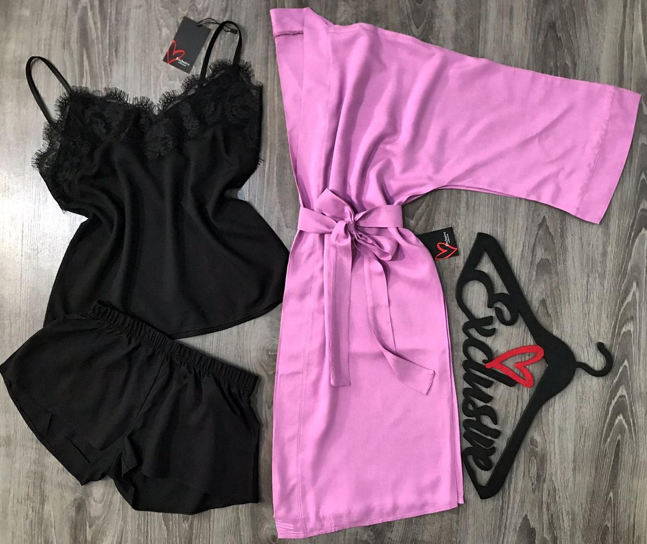 Красивый женский комплект для дома, халат лилового цвета и пижама с кружевом