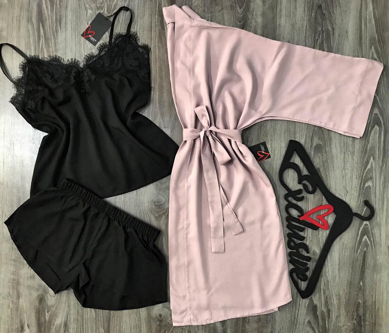 Женский хлопковый комплект, халат цвета пудра и пижама