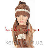 Комплект вязаный шапка и шарф коричневый