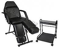 Кресло кушетка педикюрное LS-240 black + подставка под ванночку 533