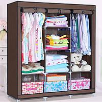 Складной каркасный тканевый шкаф STORAGE WARDROBE 175 х 130 х 45 см Коричневый