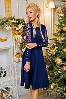 ЖІноче   плаття з кружевом на рукавах, 6 кольорів. Р-ри 42-48