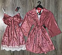 Велюровый набор халат+сорочка